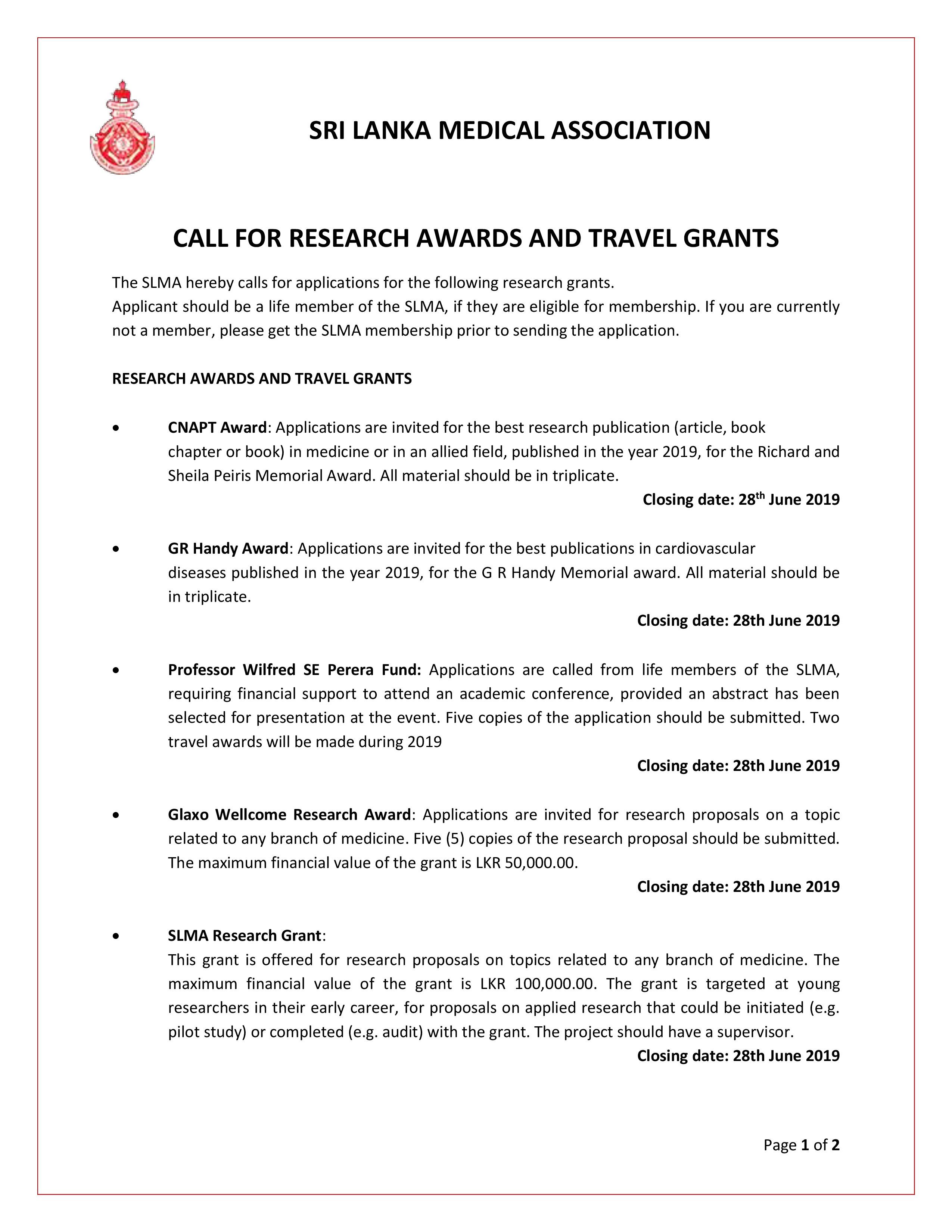 Research Awards And Grants The Sri Lanka Medical Association Slma