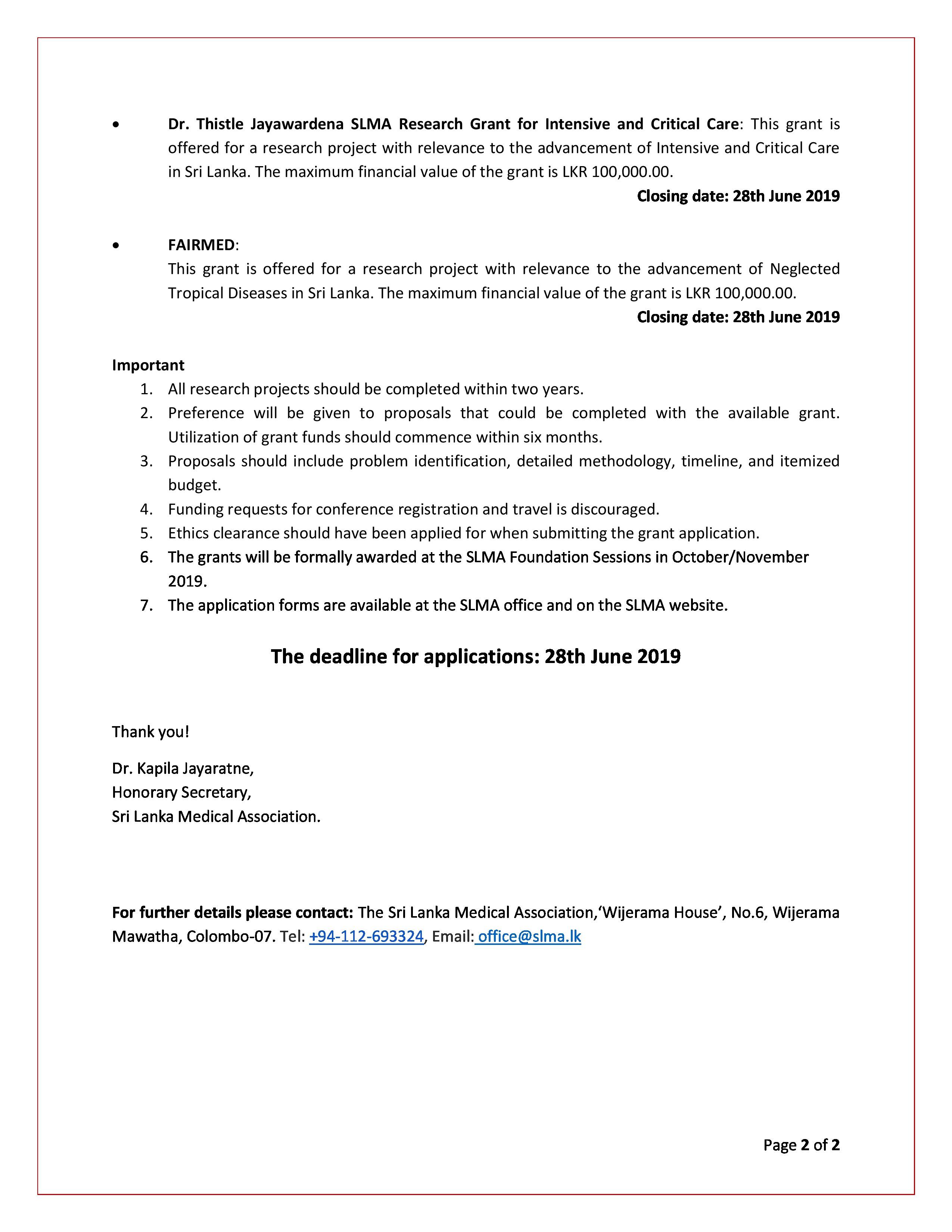 Research Awards and Grants | The Sri Lanka Medical Association (SLMA)